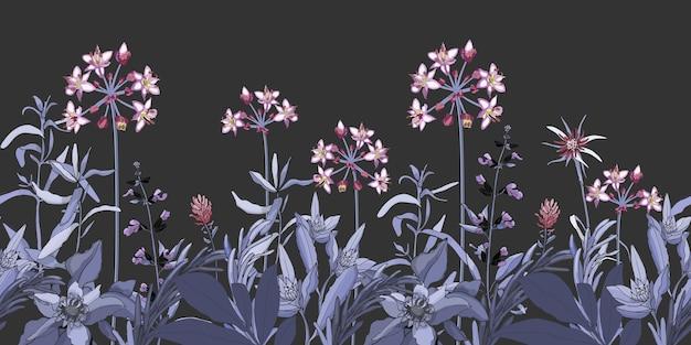 Wektor kwiatowy wzór, granica z różowe i fioletowe kwiaty, zioła niebieskie i fioletowe. roślina wektor na białym tle na ciemnoszarym tle. ogród w nocy.