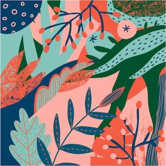 Wektor kwiatowy wzór stylizowany. kolaż współczesne tło. ilustracja jagody, liście, rośliny, liście. jesień, wiosna natura ręcznie rysowane