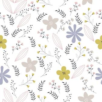 Wektor kwiatowy wzór w stylu bazgroły
