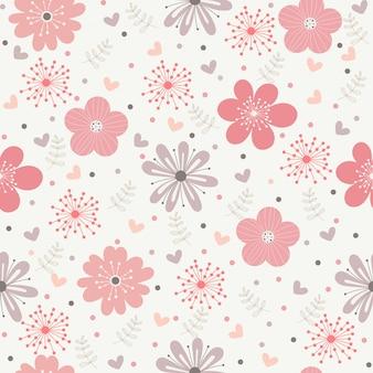 Wektor kwiatowy wzór w stylu bazgroły.