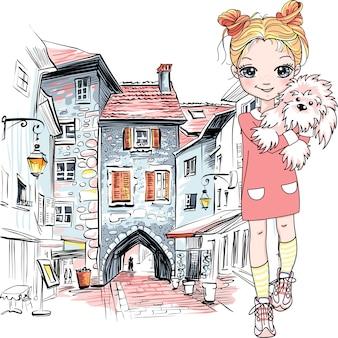 Wektor ładny dziewczyna z psem szczeniak na starym mieście w annecy, francja