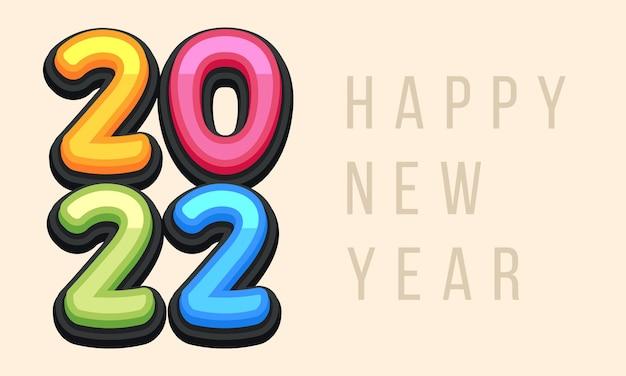 Wektor ładny kartkę z życzeniami szczęśliwego nowego roku 2022 dla dzieci. śmieszne litery alfabetu, cyfry, symbole. czcionka wielokolorowa zawiera styl graficzny