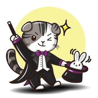 Wektor ładny kot szkocki zwisłouchy kreskówka.