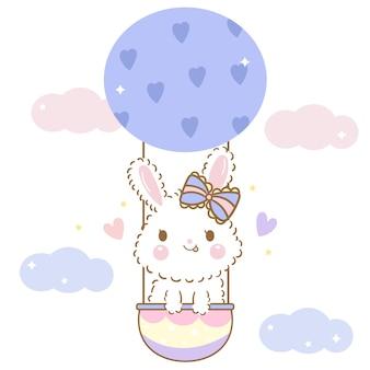 Wektor ładny królik króliczek w kreskówce balon