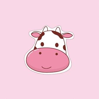 Wektor ładny krowa naklejki