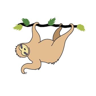 Wektor ładny leniwiec. kreskówka na białym tle dziecko wspinaczka leniwce. ręcznie rysowane plakat zwierząt dżungli