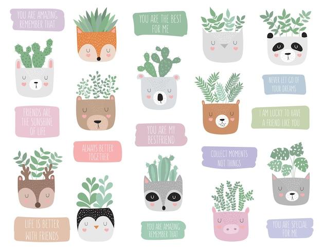 Wektor ładny plakat z rośliną domową w zabawnej puli zwierząt i motywacyjnym hasłem