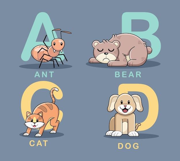 Wektor ładny wzór alfabetu zwierząt