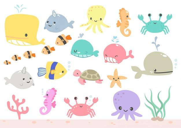 Wektor ładny zestaw ikon morze koło lub zestaw zwierząt akwariowych