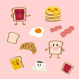 Wektor ładny zestaw śniadaniowy.