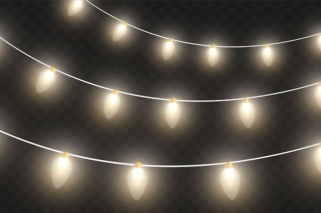 Wektor lampki choinkowe, na białym tle na przezroczystym tle. świecąca girlanda świąteczna. białe półprzezroczyste lampki dekoracyjne na nowy rok. ledowa lampa neonowa. świecące światła na święta bożego narodzenia