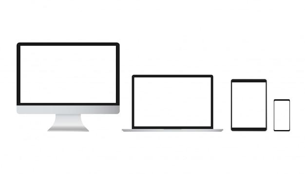 Wektor laptopa na białym tle. wektor gadżet. nowoczesny komputer, laptop, smartphone