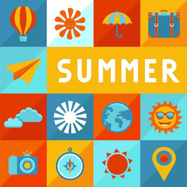Wektor lato plakat w stylu płaski