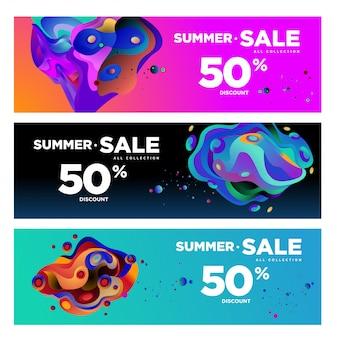 Wektor lato sprzedaż 50% zniżki płyn kolorowy transparent