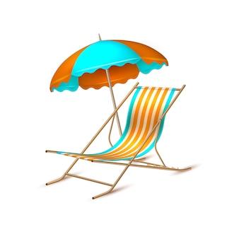 Wektor letnie wakacje realistyczne leżaki parasol