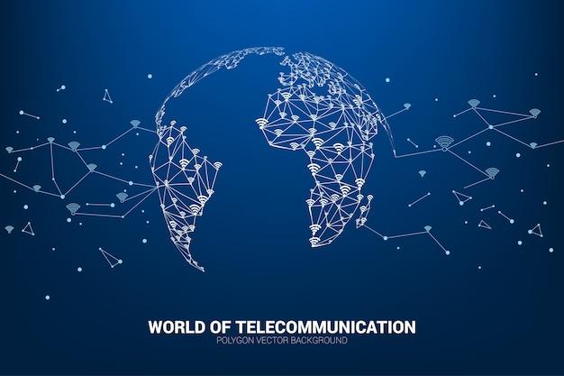 Wektor linia wielokąta łączy dane mobilne i oznakowanie ikony wi-fi kształtuje mapę świata.