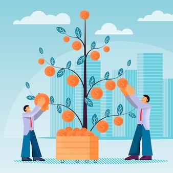 Wektor liści płaski pieniądze drzewa i pieniądze cent man.
