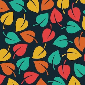 Wektor liście deseniowy tło
