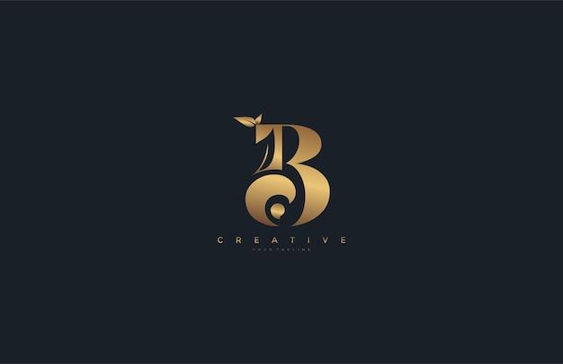Wektor list b monogram liść logo złoty