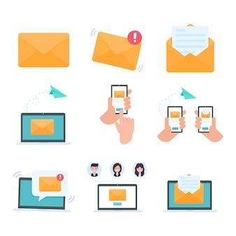 Wektor list na monitorze komputera pojęcie komunikacji e-mail
