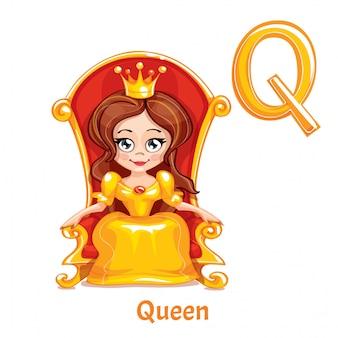 Wektor litery alfabetu q. queen.