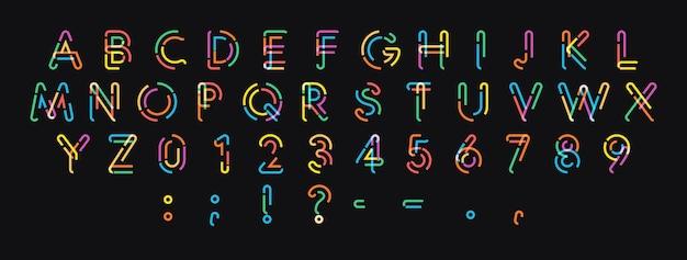 Wektor litery, cyfry i znaki z kropkowanej kolorowej linii. modny nowoczesny projekt alfabetu dla pięknego projektowania logo, plakatów i banerów. czcionka wektorowa