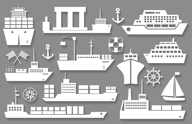 Wektor łodzi i statków białe ikony z cieniami