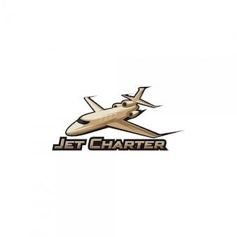 Wektor logo czarteru odrzutowca