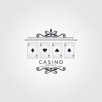 Wektor logo dla kasyna vintage poker i kasyno zestaw wektorów czarnych emblematów hazardowych lub logo