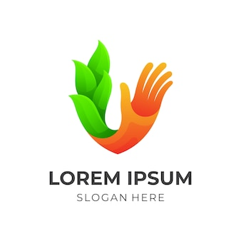 Wektor logo dłoni i liści, kolorowy styl 3d