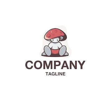 Wektor logo dziecko grzyb