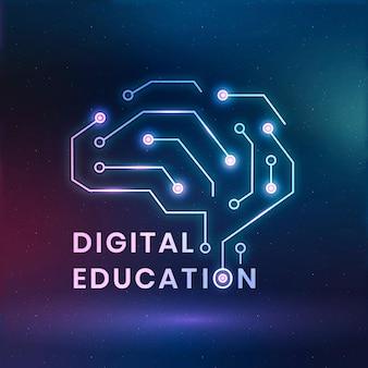 Wektor logo edukacji cyfrowej z grafiką mózgu ai