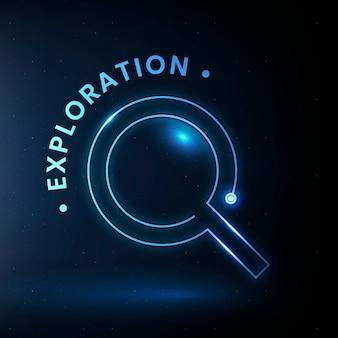 Wektor logo edukacji eksploracyjnej z grafiką szkła powiększającego