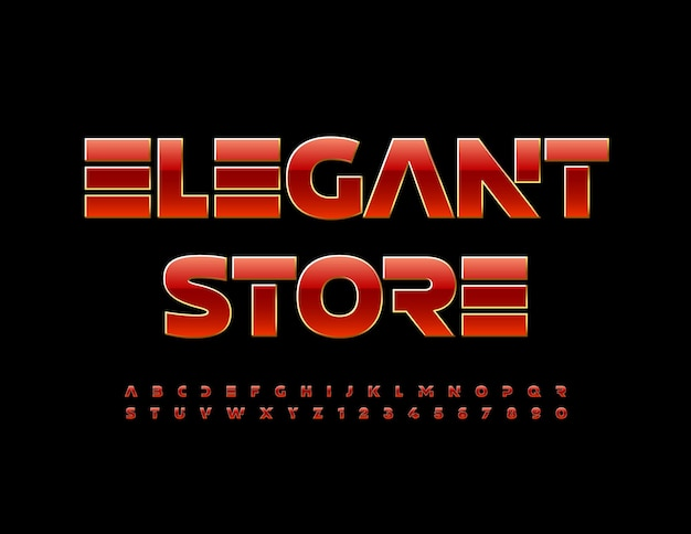 Wektor logo firmy elegancki sklep ekskluzywna elegancka czcionka czerwone i złote litery i cyfry alfabetu