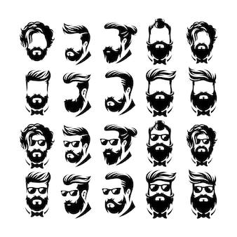 Wektor logo fryzjer broda