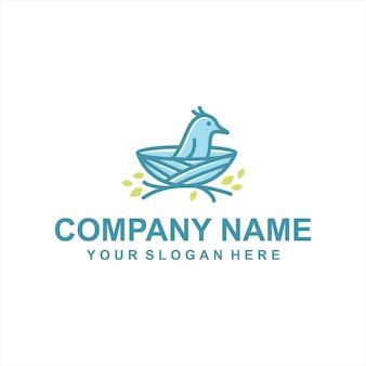 Wektor logo gniazdo ptaków