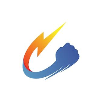 Wektor logo grzmotu pięści