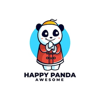 Wektor logo ilustracja chińska panda maskotka stylu cartoon