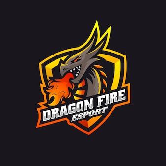 Wektor logo ilustracja dragon fire e sport i sport style