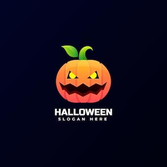 Wektor logo ilustracja halloween dynia gradient kolorowy styl