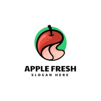 Wektor logo ilustracja jabłko styl prosty maskotka