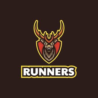 Wektor logo ilustracja jeleń biegacz e sport i sport styl