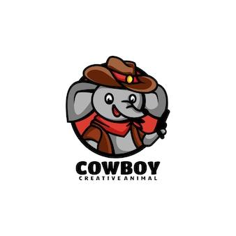 Wektor logo ilustracja kowboj słoń maskotka stylu cartoon