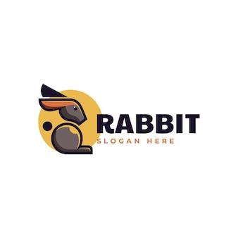 Wektor logo ilustracja królik styl prosty maskotka