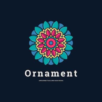 Wektor logo ilustracja kwiat ornament styl sztuka nieskończoności linia