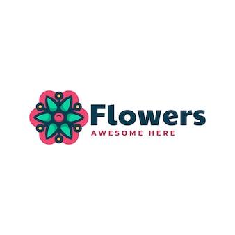Wektor logo ilustracja kwiat prosty styl maskotka