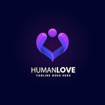 Wektor logo ilustracja ludzka miłość gradient kolorowy styl