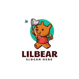 Wektor logo ilustracja mały miś prosty styl maskotka