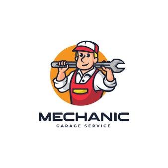 Wektor logo ilustracja mechanik maskotka stylu cartoon