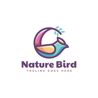 Wektor logo ilustracja natura ptak styl prosty maskotka